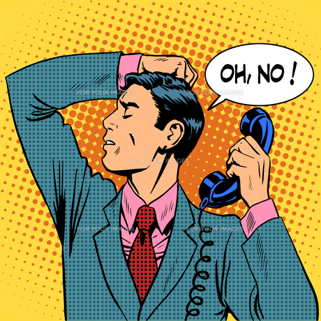 depressed man talking phone communicationの写真素材 [FYI00774763]