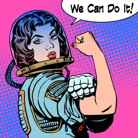 woman astronaut we can do it the power of protestの写真素材 [FYI00774767]