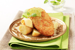 Fried fish with new,potatoesの素材 [FYI00775415]