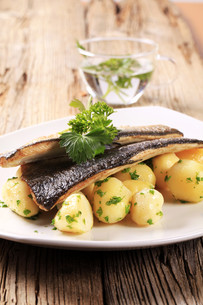 Pan fried trout with potatoesの写真素材 [FYI00775536]