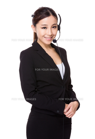 Asian businesswoman with headsetの写真素材 [FYI00775631]