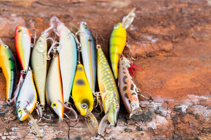 selective focus closeup fishing bait wobblerの写真素材 [FYI00775852]