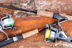 fishing rod and reel with lineの写真素材 [FYI00775856]