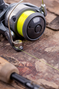 fishing rod and reel with lineの写真素材 [FYI00775857]