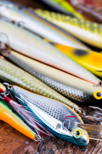selective focus closeup fishing bait wobblerの写真素材 [FYI00775860]