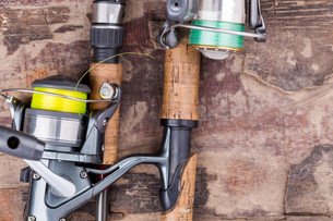 fishing rod and reel with lineの写真素材 [FYI00775863]