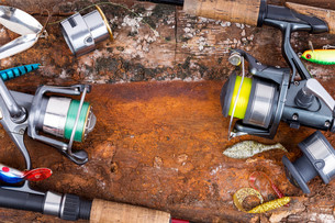 fishing rod and reel with lineの写真素材 [FYI00775864]