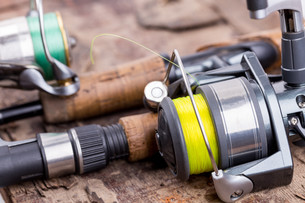 fishing rod and reel with lineの写真素材 [FYI00775869]