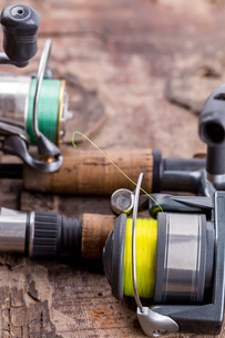 fishing rod and reel with lineの写真素材 [FYI00775875]
