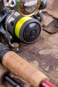 fishing rod and reel with lineの写真素材 [FYI00775881]