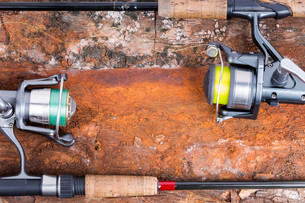 fishing rod and reel with lineの写真素材 [FYI00775883]