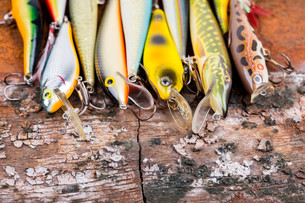 selective focus closeup fishing bait wobblerの写真素材 [FYI00775887]