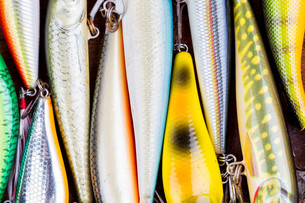 closeup fishing bait wobbler from topの写真素材 [FYI00775902]