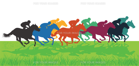 galloping horses with jockeysの素材 [FYI00776296]