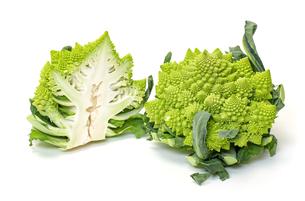 Two Green Fresh Romanesque Cauliflowerの写真素材 [FYI00776344]