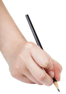 hand writes by black pencil isolated on whiteの素材 [FYI00776424]