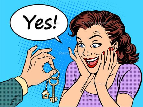 House keys real estate woman gift buyの写真素材 [FYI00776551]