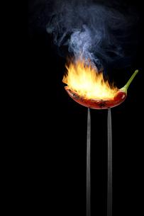 chilli on fork burns like fireの写真素材 [FYI00776567]