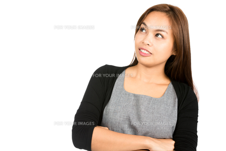 Cheerful Asian Woman Looking Up Copy Space Side Hの写真素材 [FYI00776673]