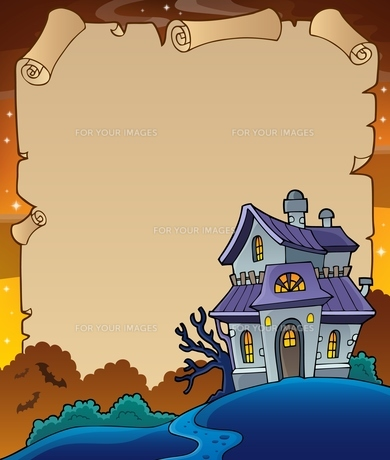 Parchment with haunted house thematics 4の写真素材 [FYI00776804]