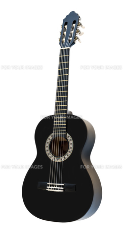Classical Acoustic Guitar Isolated on a White Backgroundの素材 [FYI00777025]