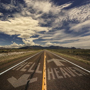 Two Way Road to Heaven and Hellの写真素材 [FYI00777126]