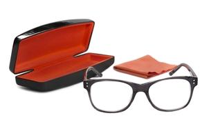 Eyeglasses in the gray frame, case and velvet ribbon on a white backgroundの写真素材 [FYI00777219]