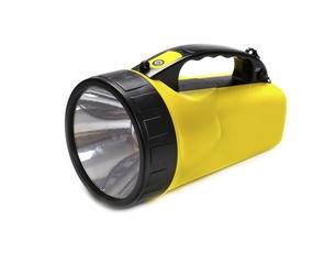 Flashlight LED, yellow, isolated on white backgroundの写真素材 [FYI00777261]
