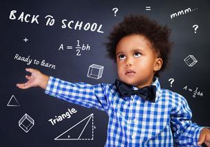 Smart schoolboy portraitの写真素材 [FYI00777579]