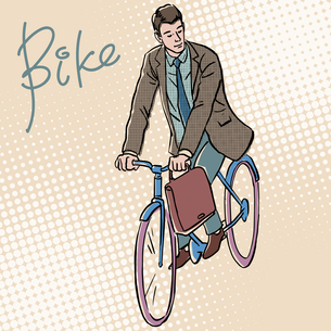 Businessman on Bicycle retro style pop artの写真素材 [FYI00777583]