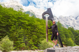 Active sporty woman relaxing in Vrata Valley, Slovenia.の写真素材 [FYI00777656]