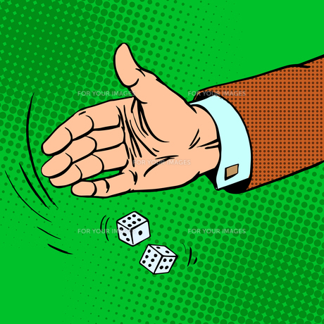 Case the die is dice throwing hand business conceptの写真素材 [FYI00778135]
