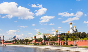 view of Moscow Kremlin from Moskva River in summerの写真素材 [FYI00778139]
