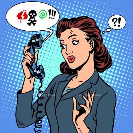 Dangerous talk phone communication viruses business woman abuseの写真素材 [FYI00778141]