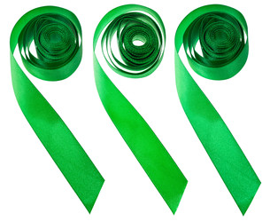 set of green satin decorative ribbons isolatedの素材 [FYI00778164]