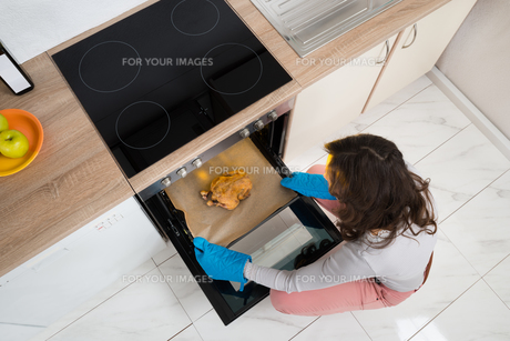 Woman Putting Chicken In Ovenの写真素材 [FYI00778601]