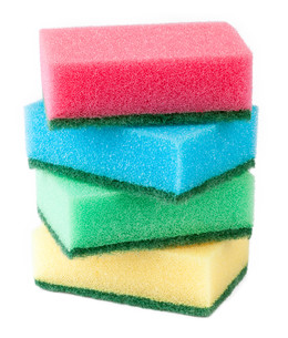 colorful sponges on white backgroundの素材 [FYI00778797]