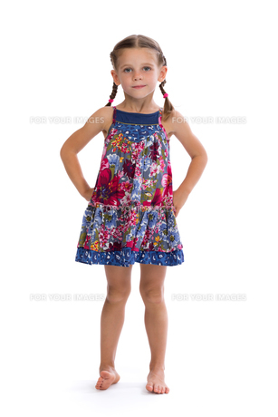 girl in colorful dress on white backgroundの素材 [FYI00778834]