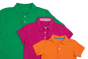 Three colored polo shirt close-upの写真素材 [FYI00778933]