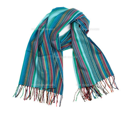 Blue striped scarf.の素材 [FYI00778936]