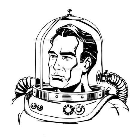 Retro astronaut line artの写真素材 [FYI00779003]