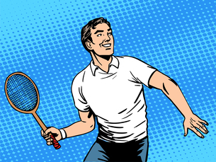 Handsome man playing tennisの写真素材 [FYI00779011]