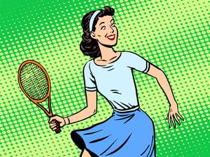 Young woman playing tennis retro style pop artの写真素材 [FYI00779026]