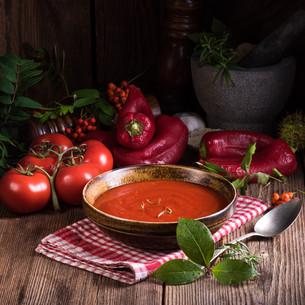 chilli tomato -soupの写真素材 [FYI00779049]