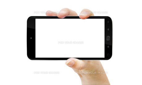Hand with mobile phoneの写真素材 [FYI00779310]
