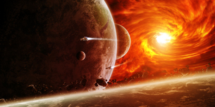 Red nebula in space with planet Earthの写真素材 [FYI00779458]