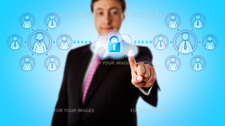 Happy Consultant Contacting Teams Via Secure Linkの写真素材 [FYI00779932]