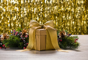 Gold present and Christmas tree branchesの素材 [FYI00780065]