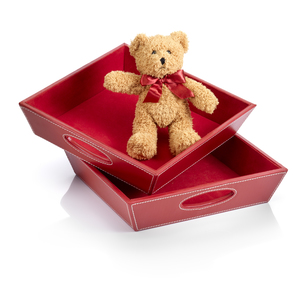 Toy bear into a toy box against white backgroundの写真素材 [FYI00780066]