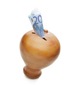 Golden money box save 20 eurosの写真素材 [FYI00780098]